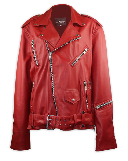 Red Leather Moto Jacket