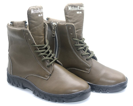 Women's Army Green ML/15M Zipped High-Top Combat Boots with Thick Rubber Soles