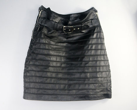 Women's Black Raised Striped Leather Skirt with Belt