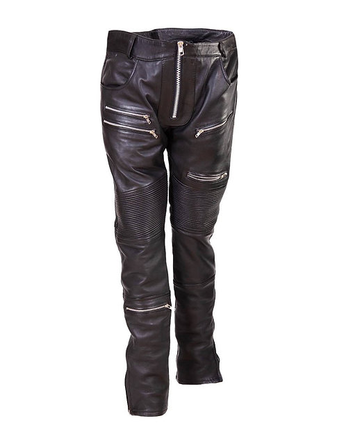 Men's Black Quilted Leather Moto Pants with Zippers