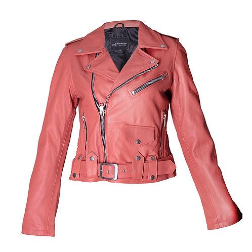 Women's Apricot Leather Moto Jacket
