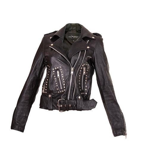 Black Biker Sheepskin Leather Jacket