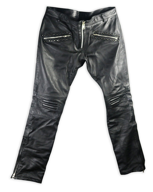 Men's Black Quilted Studded Leather Moto Pants with Zippers