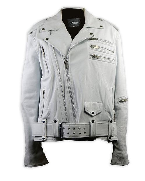 White Double Zipper Leather Moto Jacket