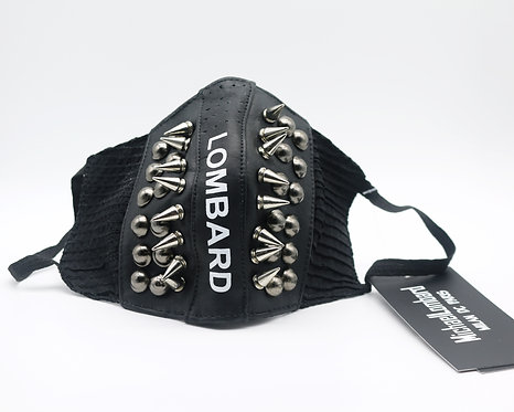 Black Spiked and Studded 3 Layer Leather and Fabric Mask