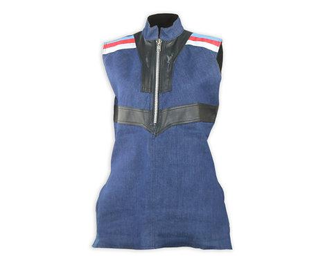 Men's  Denim High Neck Leather Sleeveless Shirt