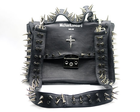 Woman's Black Spiked Leather Handbag