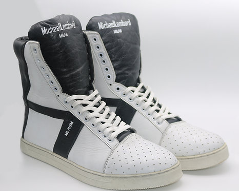 Men's White and Black ML/15M Zipped High-Top Sneakers