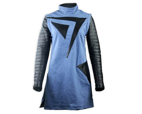 Women's Blue Denim and Leather Dress with Black Leather Design
