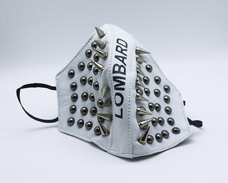 Luxury White Spiked and Studded 3 Layer Full Leather Mask