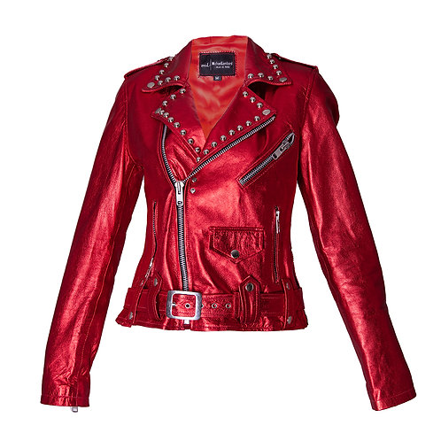 Metallic Red Leather Sheepskin Moto Jacket