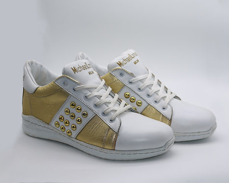 Women's Gold and white ML/15M Zipped Low Top Sneakers with gold studs