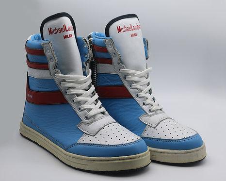 Women's Aqua Blue, Red and White ML/15M Zipped High-Top Sneakers