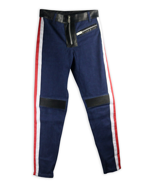Women's Quilted Denim and Leather Striped Jeans