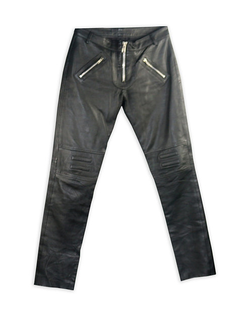 Women's Black Leather Moto Pants with Zippers
