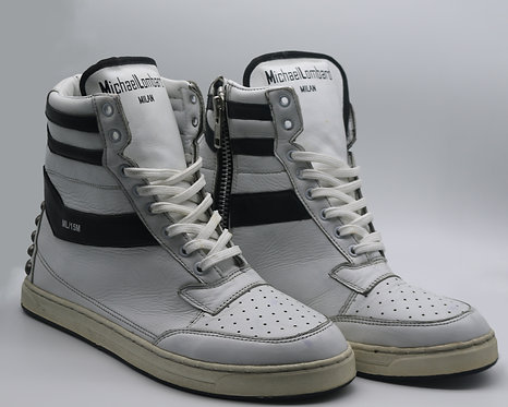 Women's Studded White and Black ML/15M Zipped High-Top Sneakers