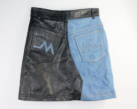 Women's Denim and Leather Skirt