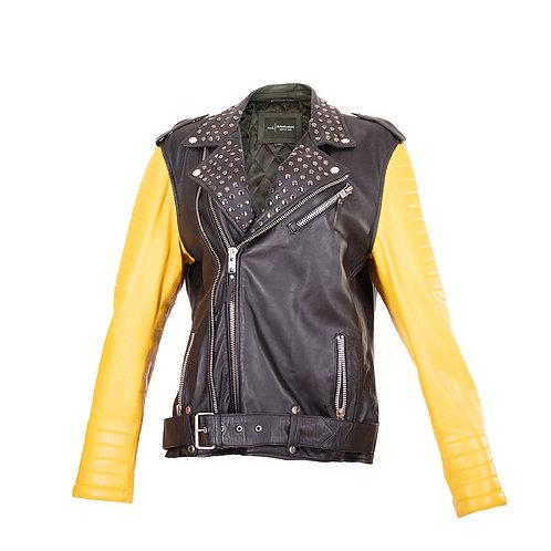 Men's Black and Yellow  Biker Jacket