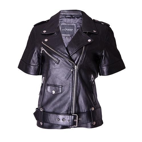 Black Short Sleeve Leather Moto Jacket