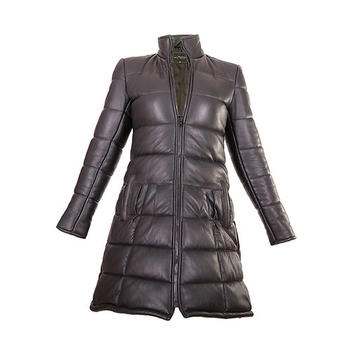 Women's Sheepskin Bubble Quilted Leather Coat