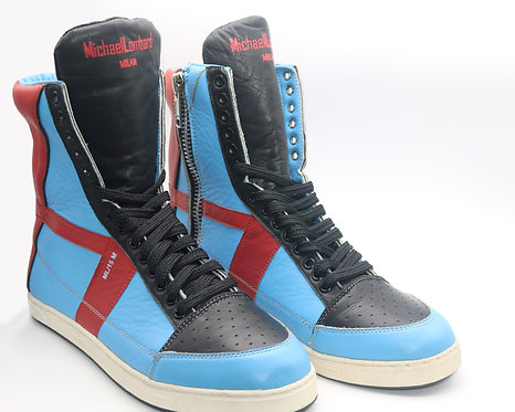 Men's Black, Red and Aqua Blue ML/15M Zipped High-Top Sneakers