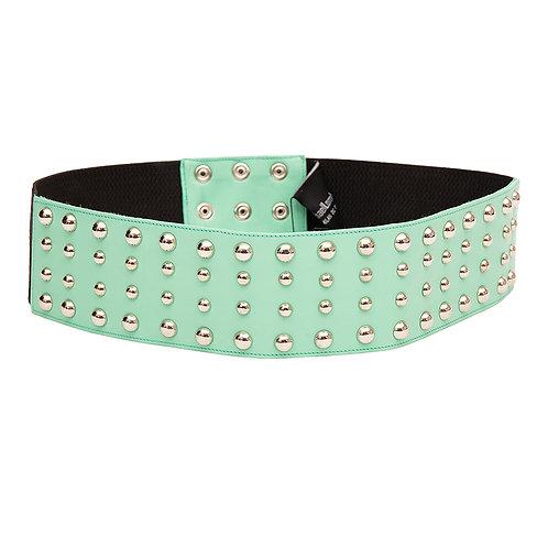 Aqua Green Leather Wide Belt