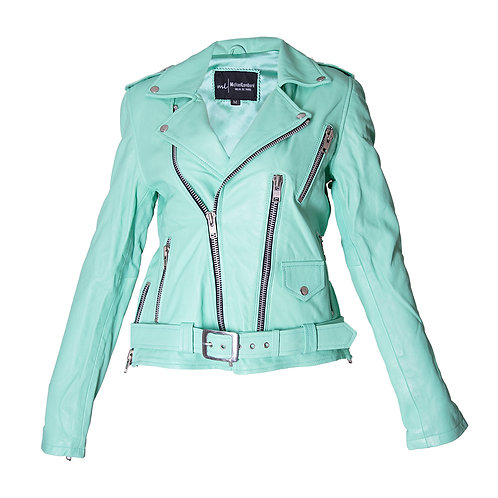 Classic Aqua Green Moto Leather Sheepskin Jacket