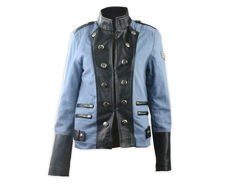 Military Button Denim and Black Leather Jacket