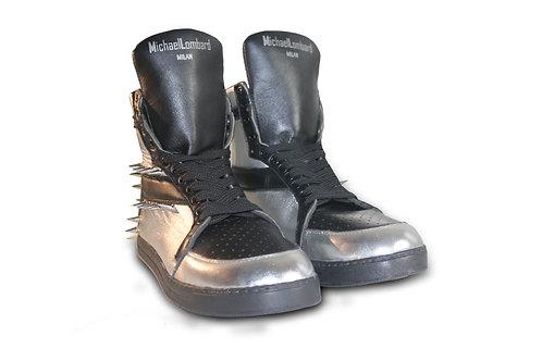 Men's Metallic Silver ML/15M High-Top Sneakers