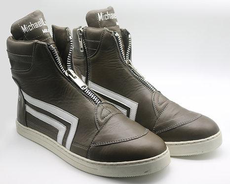 Men's Army Green ML/15M Zipped High-Top Sneakers