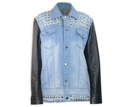 Men's Studded Denim and Leather Jacket