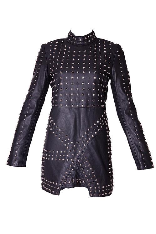 Elegant Studded Leather Mini Dress