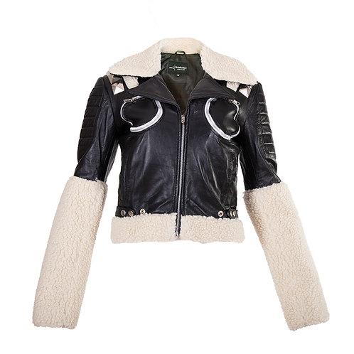 Black Sheepskin Wool Fur Jacket