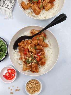 עוף ברוטב חמאת בוטנים אסייתי