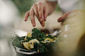 hand preparing food