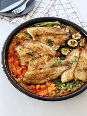 קינואה עם ירקות ודג בתבנית אחד בתנור