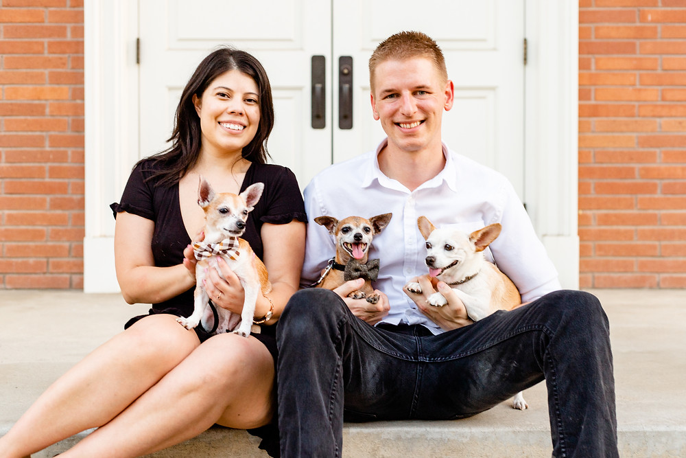 A couple does their engagement session with their dogs with Ashley Norton in Visalia, CA.