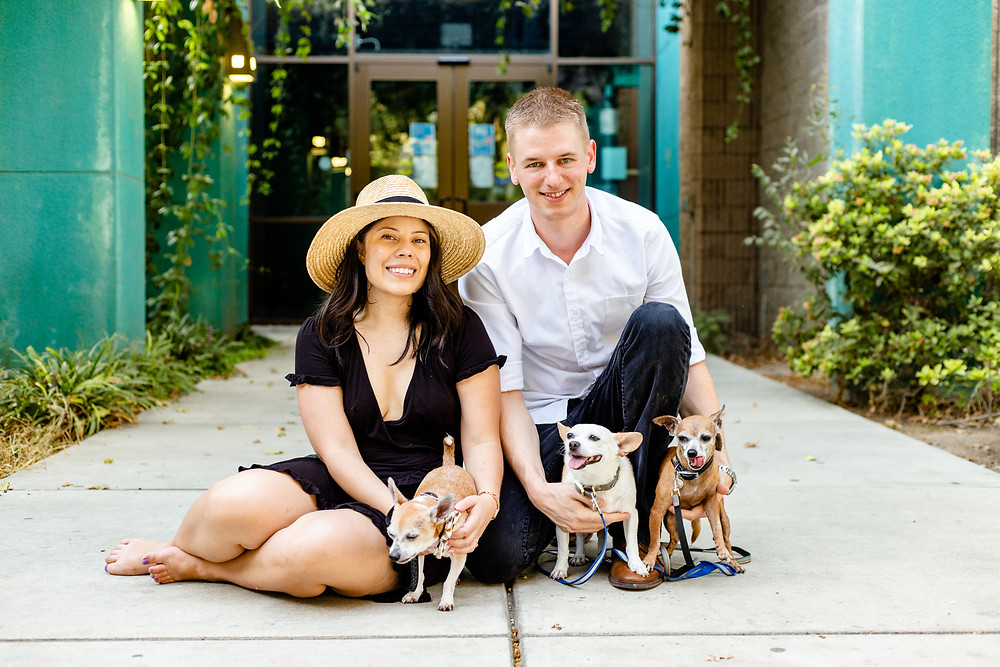 A couple and their dogs do their engagement session with Ashley Norton Photography in Visalia, CA.
