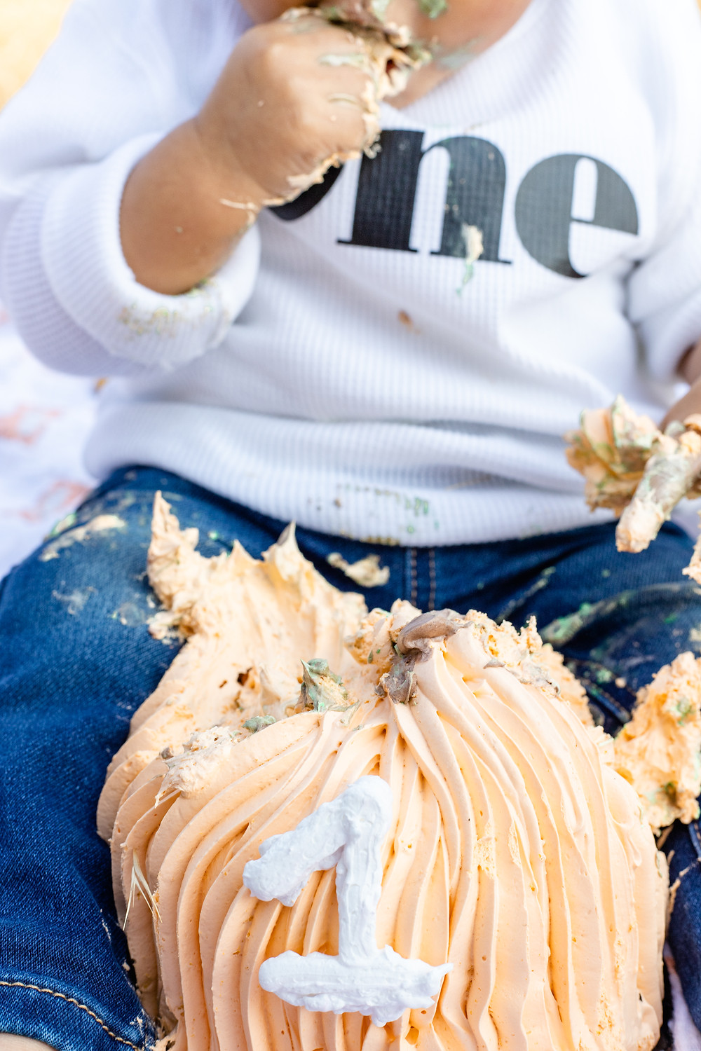 A family does a cake smash birthday family portrait session in the Central Valley.