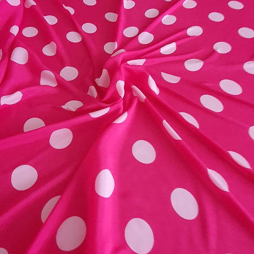 Bright Pink and White Polka Dot Soft Polyester