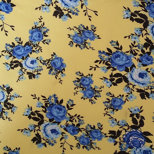 Summer Yellow Floral 100% Viscose - NEW