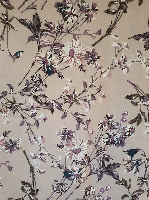 Large Floral Print Crepe