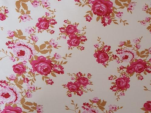 Vintage White Floral 100% Viscose - NEW
