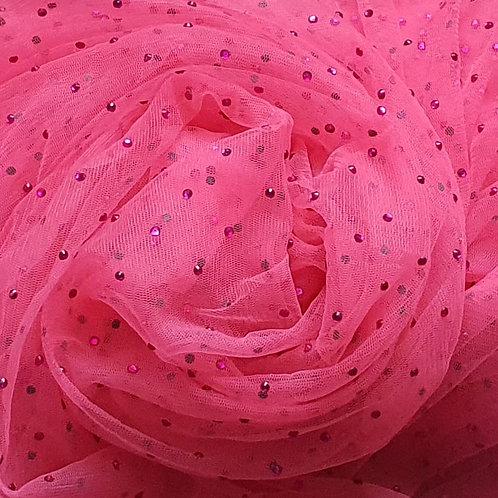 Beaded Mesh Net - Light Coral