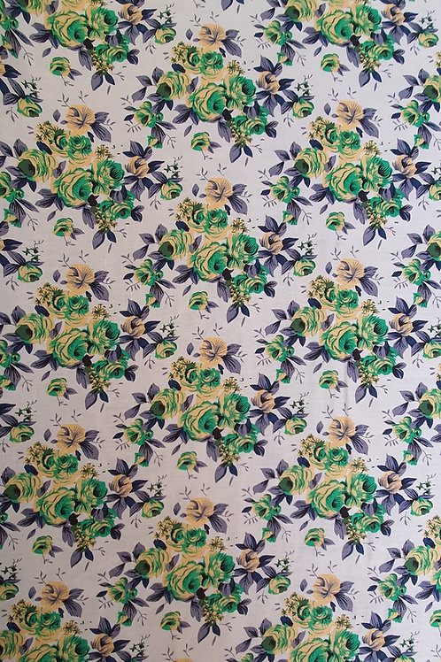 White Viscose With Bunched Rose Design