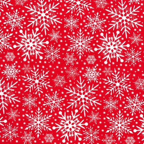 Christmas White Snowflake on Red Polycotton Fabric