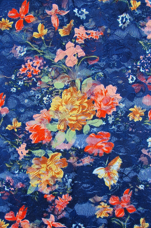 Delicate Multicoloured Floral 4 Way Stretch Lace - Blue