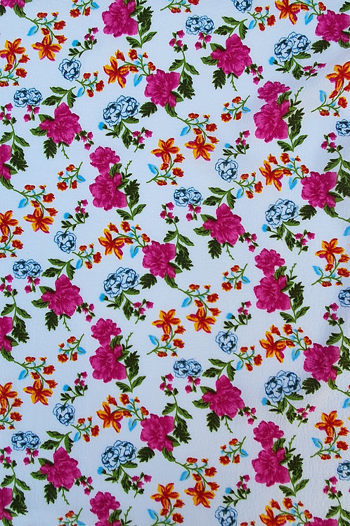 Summer Floral Printed Bubble Crepe