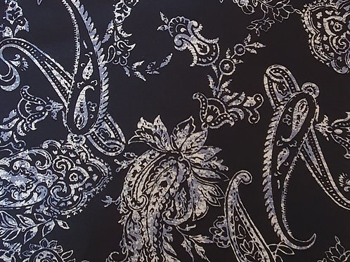 Bold Paisley 100% Viscose in Navy Blue - NEW