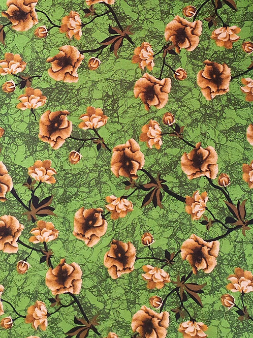Floral Stem Garden Viscose - Green
